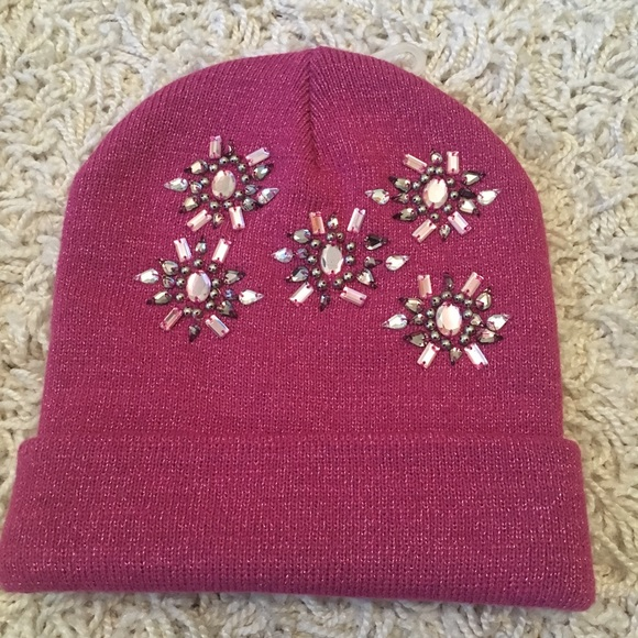 Claire's Accessories - New winter hat embellished pink